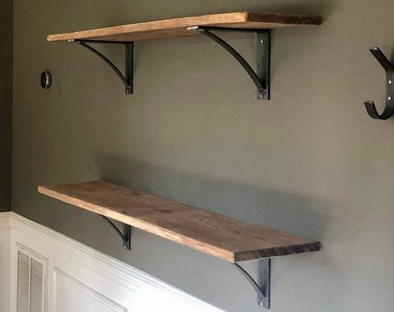 """Rustic shelf bracket 2"""" wide with 1"""" curved support bar - SOLD INDIVIDUALLY"""