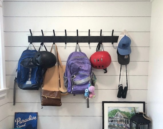 """Wall Mounted Coat Rack With Hooks 3"""" wide with 1/2"""" wide hooks - Bestseller"""