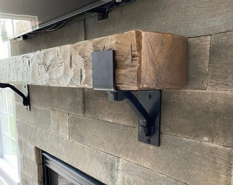 """The Buffalo Farmhouse Mantel Shelf Bracket 4"""" wide with 1"""" solid square support bar - Sold Individually"""