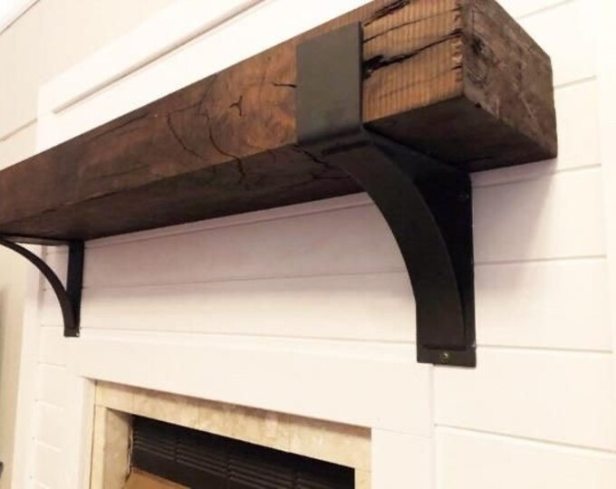 """Featured listing image: The Kudlick Farmhouse 4"""" Shelf Mantel Brackets with 3"""" curved support bar - Sold individually"""