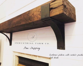 "The Kudlick Farmhouse 4"" Shelf Mantel Brackets with 3"" curved support bar - Sold individually"