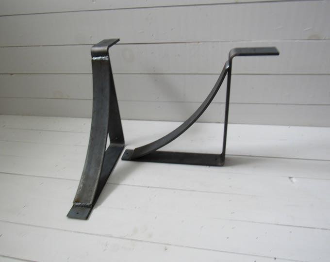 "Modern Rustic Shelf brackets 2"" wide with 2"" rounded support bar"