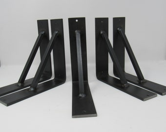 "Industrial Shelf Brackets 2"" wide with angled square support bar"