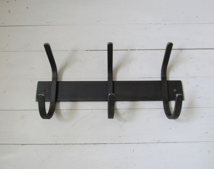 """Wrought Iron Coat Rack - 2"""" wide backplate with 1/2"""" hooks"""