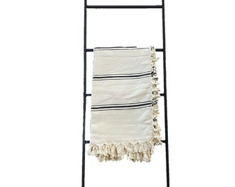 "Straight Decorative Metal Blanket Ladder - Farmhouse Ladder made from 1/2"" solid square bar"