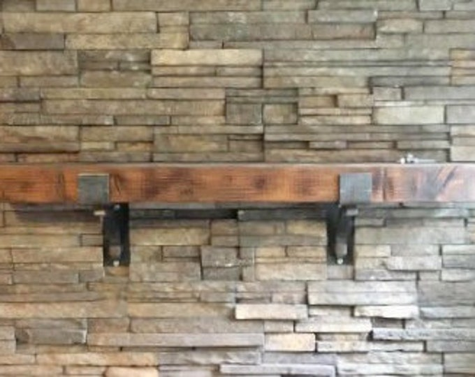 "Rustic Mantel Brackets 4"" wide with 1"" solid square support bar"