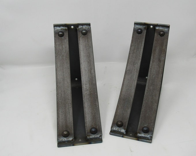 "Metal Shelf Brackets 4"" wide with double support bars -Rivets added"