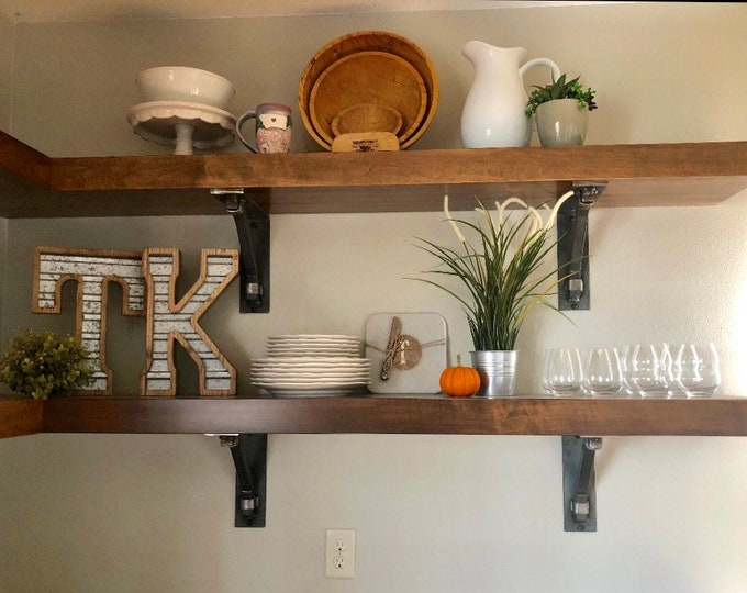 "Industrial Style Shelf Brackets 3"" wide with 1"" square support bar and wraps - Bestseller"
