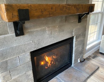 """Rustic Mantel Bracket 4"""" wide with 1"""" solid square support bar - SOLD INDIVIDUALLY"""