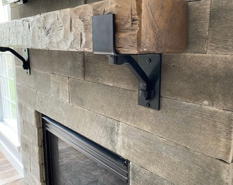 """Rustic Mantel Bracket 4"""" wide with 1"""" solid square support bar"""