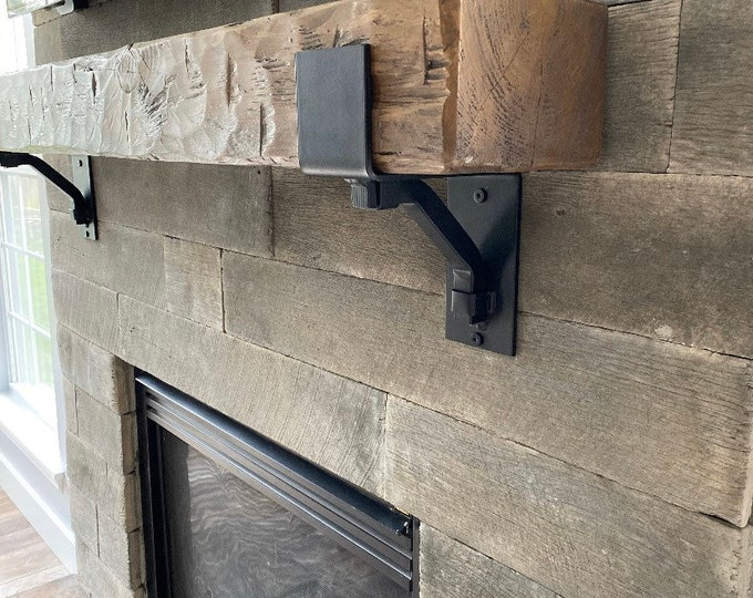 """Rustic Mantel Brackets 4"""" wide with 1"""" solid square support bar"""