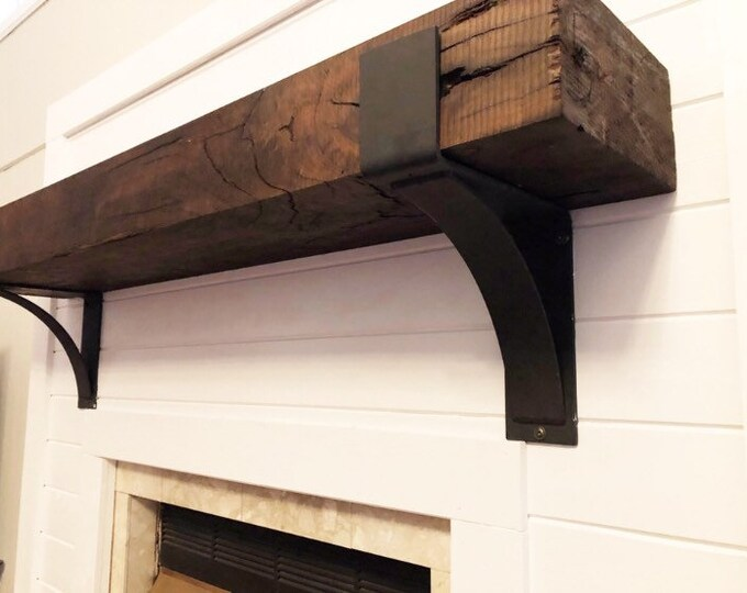 "Farmhouse mantel brackets 4"" wide with 3"" curved support bar"