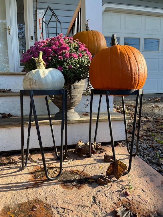 """18"""" Tall Pumpkin Stand, Halloween Pumpkin Decoration, Halloween Pumpkin Decor, Front Porch Decor, Porch Decorations, Fall Decor, Mum Planter"""