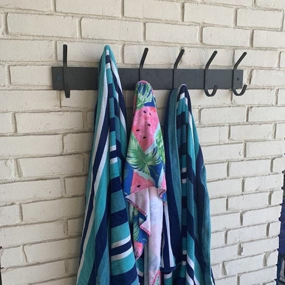 Coat Rack For Beach Towels, Lake House Summer Decor, Coastal Entry Way, Rustic Coat Hooks, Beach House Accents, Lake Home Organization Decor