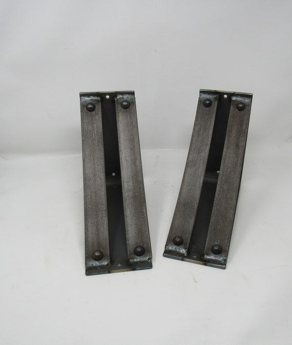 """Metal Shelf Brackets 4"""" wide with double support bars -Rivets added"""