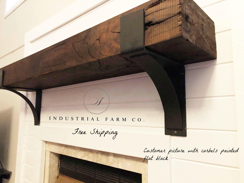Fireplace Mantel Decor Rustic Farmhouse Shelf Metal Brackets Industrial