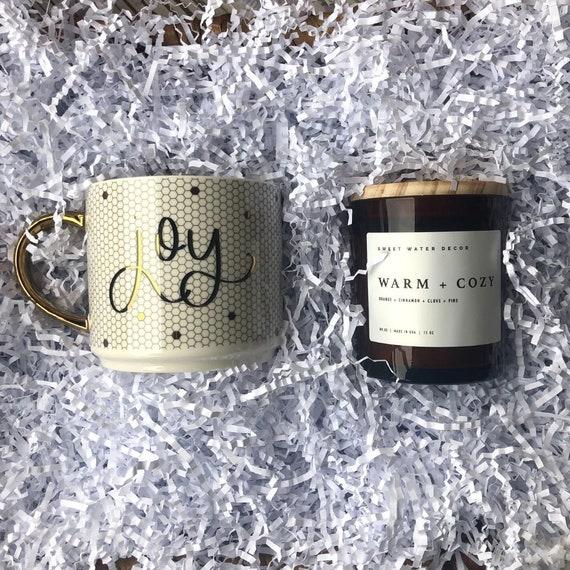 Christmas Candle and Coffee Mug Set, Merry Coffee Mug, Christmas Soy Candle, Christmas Gift, Decorative Coffee Mug, Amber Glass Candle