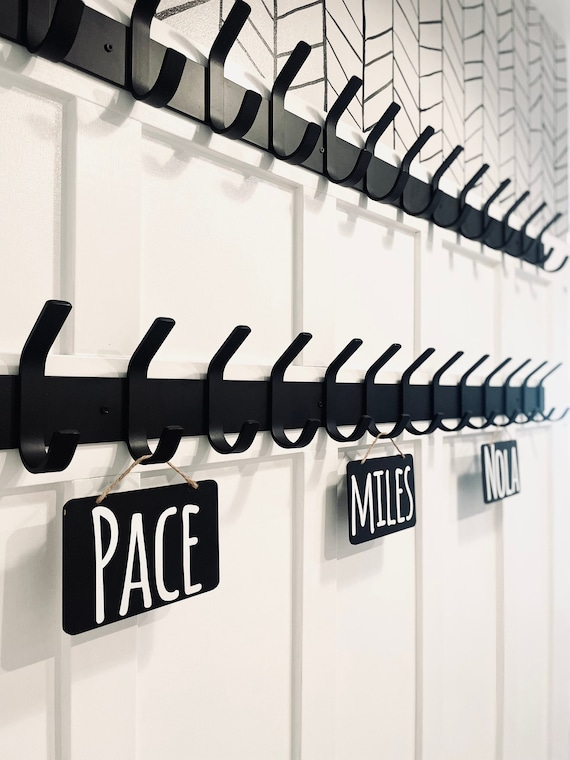 """Farmhouse Coat Rack With Hooks 2"""" wide backplate with 1"""" wide hooks - Bestseller"""