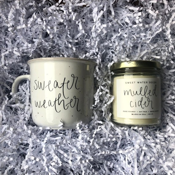 Fall Candle and Coffee Mug Set, Sweater Weather Coffee Mug, Mulled Cider Candle, Fall Decor, Gift for Her, Gift for Mom, Fall Scented Candle