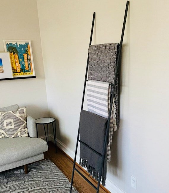 """Straight Decorative Metal Blanket Ladder - Farmhouse Ladder made from 1/2"""" solid square bar"""