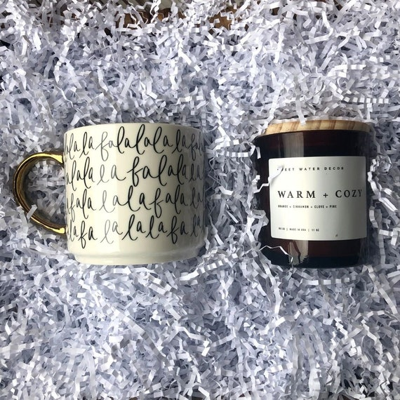 Coffee Mug and Warm and Cozy Candle Set, Merry Coffee Mug, Christmas Soy Candle, Christmas Gift, Decorative Coffee Mug, Amber Glass Candle
