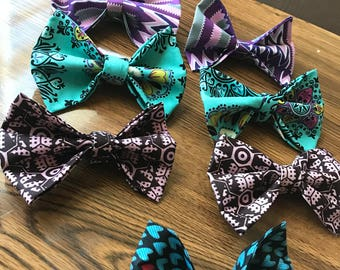 African print bow tie and pocket square