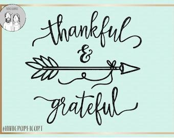 thankful and grateful svg file arrow svg cutting file Cursive svg DIY saying svg Scripture verse svg Vinyl, thankful png, grateful svg, dxf