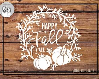 Fall svg, Happy Fall svg, Halloween svg, Pumpkin svg, Fall wreath, Cricut and Silhouette files, Pumpkin Clipart, floral Svg, Dxf, Jpg, Svg