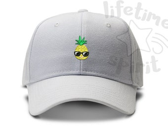 2e974ea012057 Pineapple with sunglasses - Cool Pineapple - Low Profile Dad Hat Summer  Beach Fun Cap