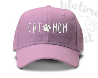 397e8c68485a8 Cat Mom with paw print - Low Profile Dad Hat Summer Beach Fun Cap