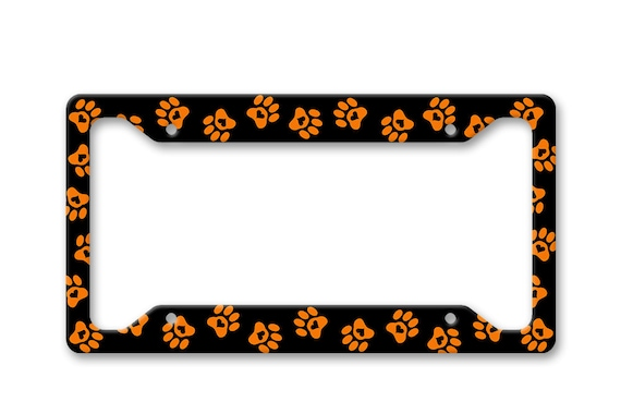Orange Paw Prints with Hearts Auto License Plate Frame