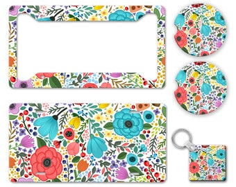 Bright All Over Flower Pattern Print - Bright Colored Boho Hippie Folk Floral Pattern Auto License Plate Frame Car Coaster Key Chain AP0046