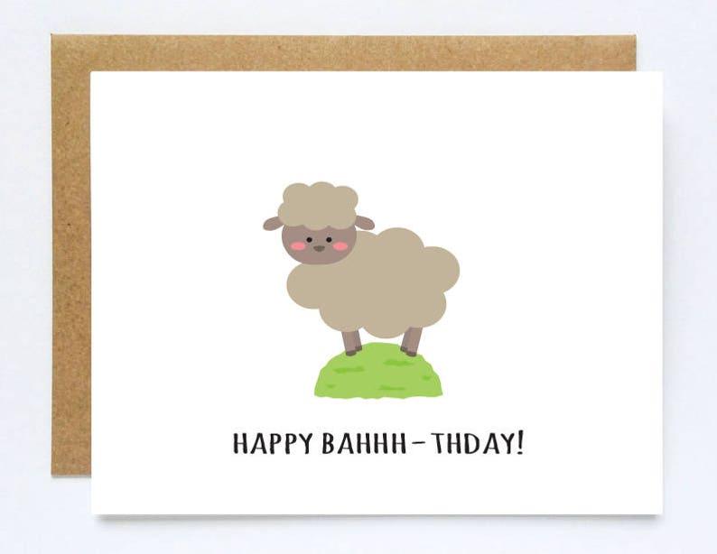 Sheep Card Birthday Nephew Niece Funny Animal Cute Pun