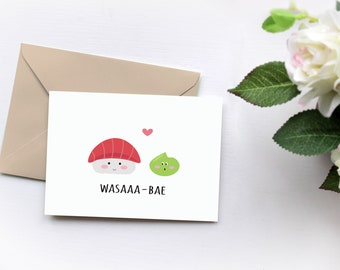 Sushi Card, Cute Love Card for Boyfriend, Anniversary Card for wife Love Greeting Cards, Kawaii card, Just Because, Romantic i love you card