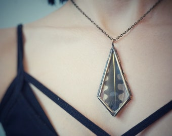 Nature's Keeper - flicker feather // glass & bronze locket necklace