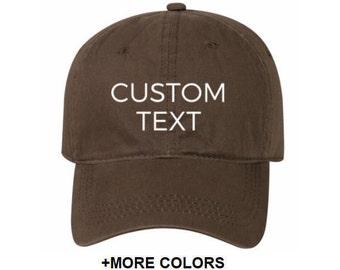 CUSTOM TEXT Garment Washed Cotton Twill Hat  c737da800a5e