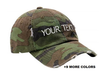 47aa719f6ac CUSTOM TEXT Distressed Baseball Hat
