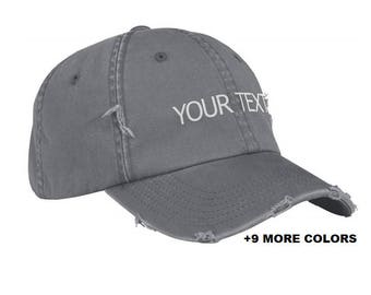 03c6d569 CUSTOM TEXT Distressed Baseball Hat | Gray Hat, Custom Embroidered Washed  Hat, Custom Hat, Personalized Hat, Unstructured Hat, Dad Hat
