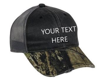 CUSTOM TEXT Camo Distressed Mesh Back Hat | Custom Embroidered Hat, Custom Hat, Personalized Hat, Camo Hat, Mossy Oak Break-Up Country