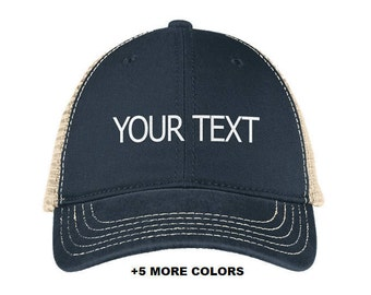 74424c4bad2fa CUSTOM TEXT Mesh Back Cap