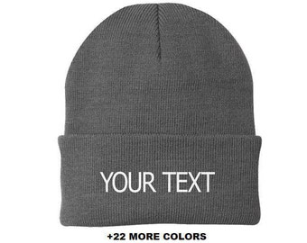 674b3cc6f0e093 CUSTOM TEXT Cuff Beanie | Custom Embroidered Beanie, Custom Toque,  Personalized Beanie, Cuff Beanie, Slouchy Beanie, Logo on Beanie