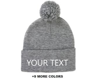 8100257cdd8 CUSTOM TEXT Pom-Pom Knit Beanie