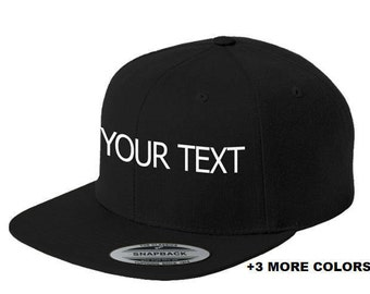 CUSTOM TEXT Flat Bill Snapback Cap  4c4620af730