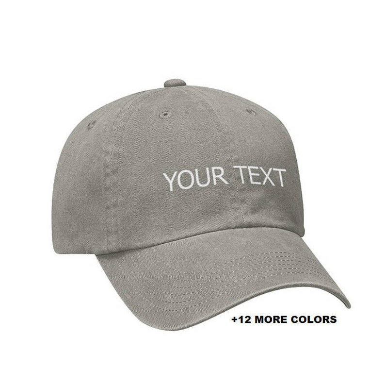 CUSTOM TEXT Garment Washed Hat | Grey Hat, Custom Embroidered Hat, Custom  Hat, Personalized Hat, Unstructured Hat, Dad Hat, Custom Cap