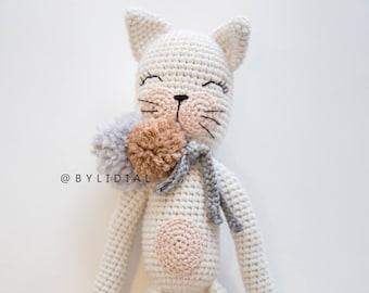 Crochet Cat Stuffed Animal Toy with Pom Pom and Personalized Scarfs