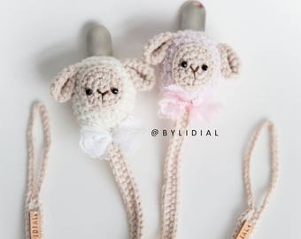 Sheep Lamb Pacifier Clip Holder with Lace or Crochet Bow Tie