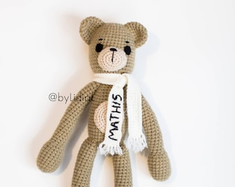 Crochet Bear Stuffed Animal Toy with personalized scarf