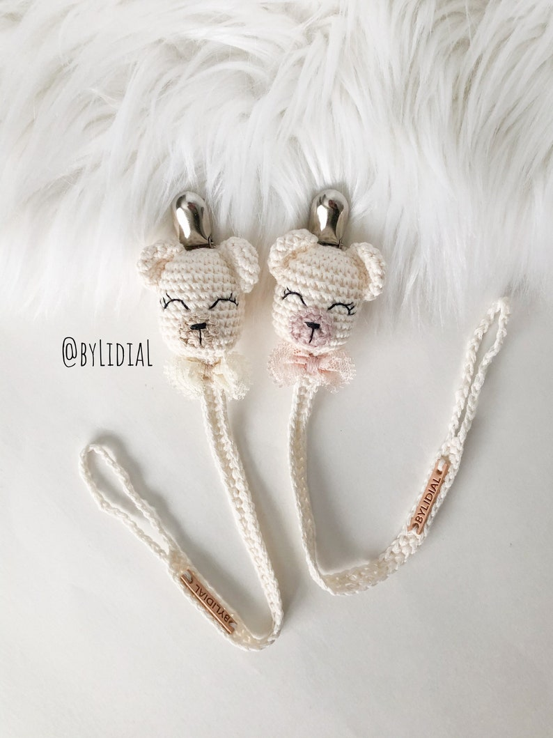 Handmade Crochet Bear Pacifier clip with lace bow tie