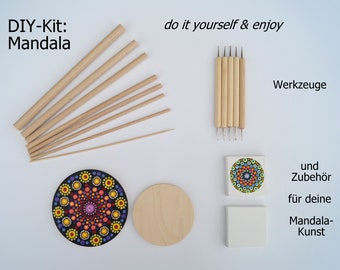 DIY Kit: MANDALA - Starter Set - Tools and Accessories for Point Painting - Dotting Tool - Dotting Tool - Dotartwork - Mandalaart