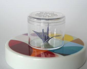 MINI Origami crane in a can of lucky charm